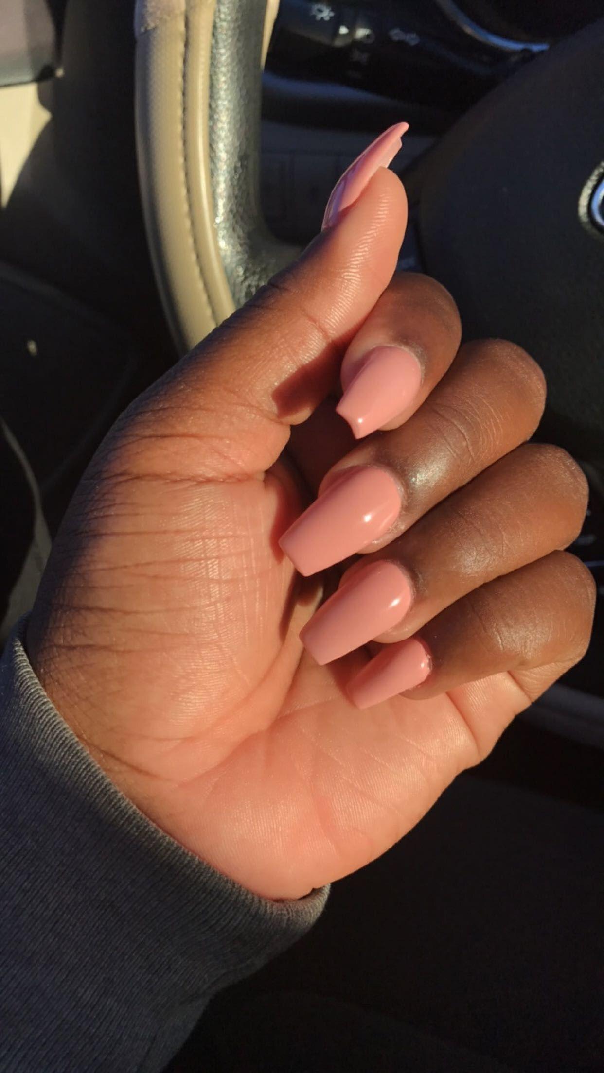 Peachy Pink Ja Nae Miller Trendy Nails Pink Acrylic Nails Brown Skin