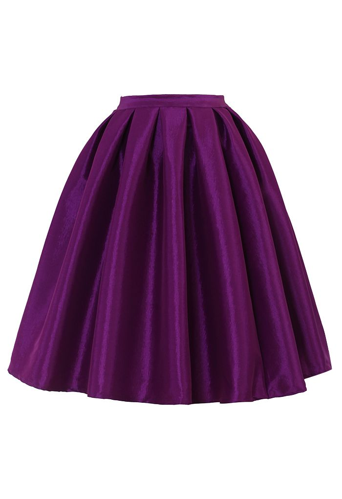 Purple A-line Midi Skirt