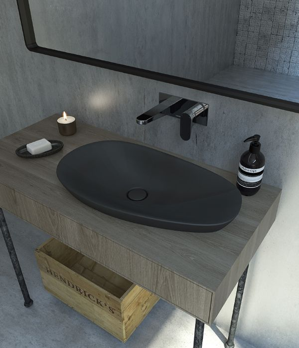 The Contura Range From Caroma Features A Basin In Black Matt Finish