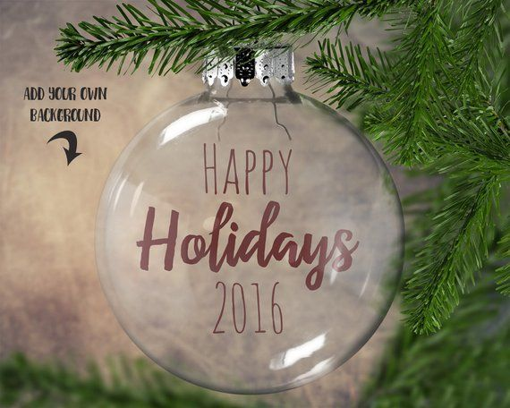 clear round christmas ornament mockup template add your own image