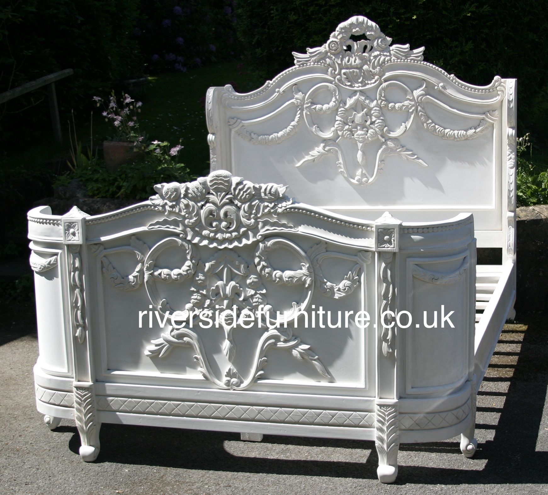 Mahogany Napoleon Bed in Antique White Finish | Art deco ...