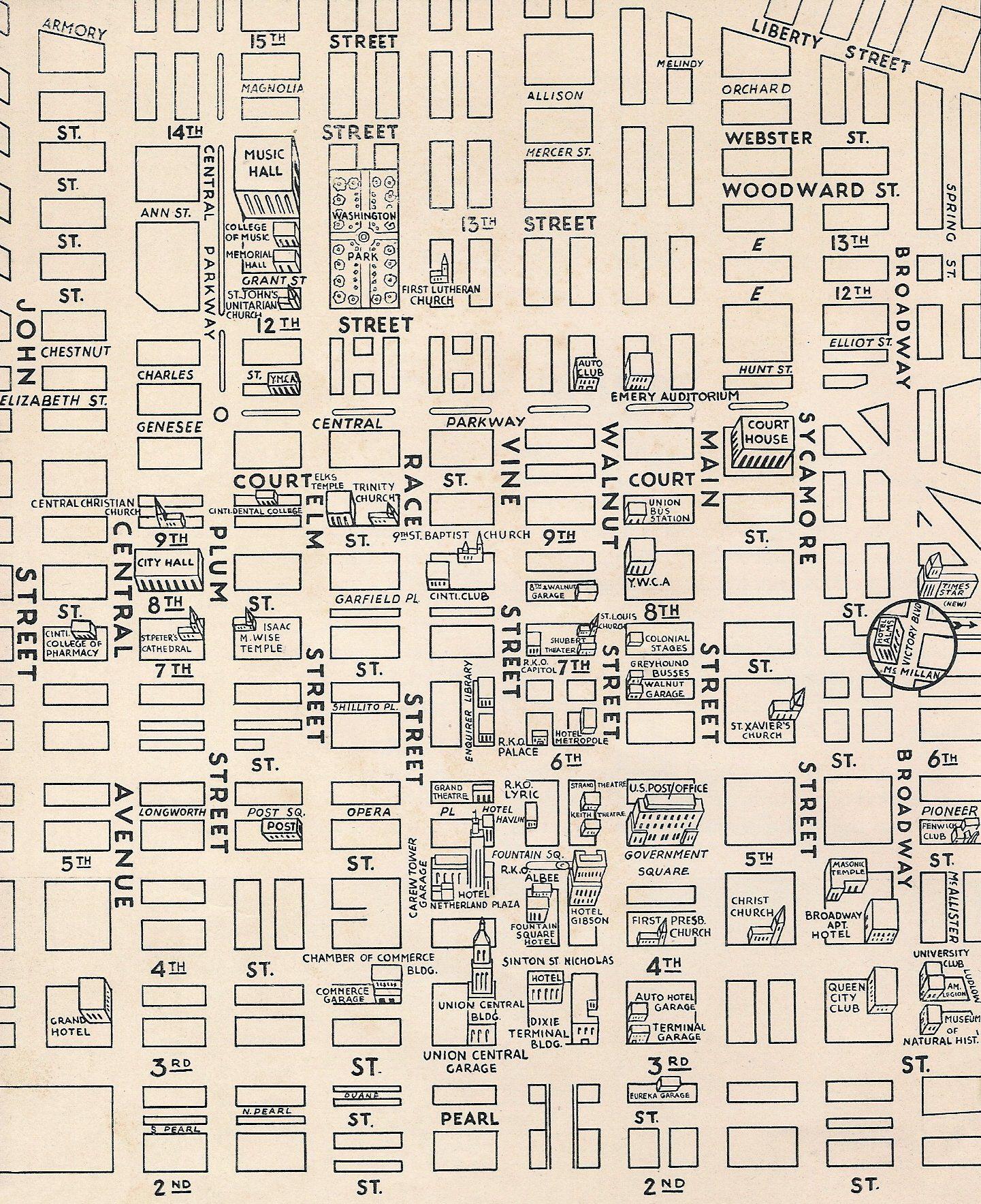 Downtown Cincinnati Map on