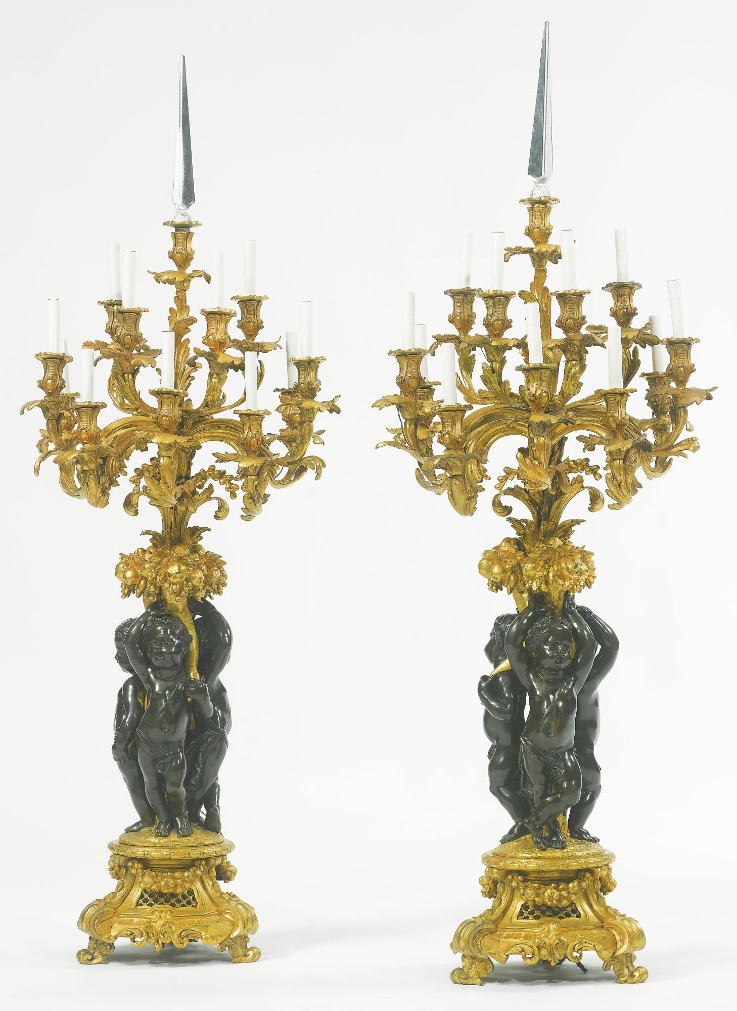 A Large Pair Of Napol 233 On Iii Gilt And Patinated Bronze