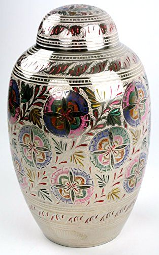 Funeral Urn by Liliane  Cremation Urn for Human Ashes  Hand Made in Brass and Hand Engraved  Fits the Cremated Remains of Adults  Display Burial Urn at Home or in Niche at Columbarium  Florale Model Lattice Flower Large ** Check out the image by visiting the link.