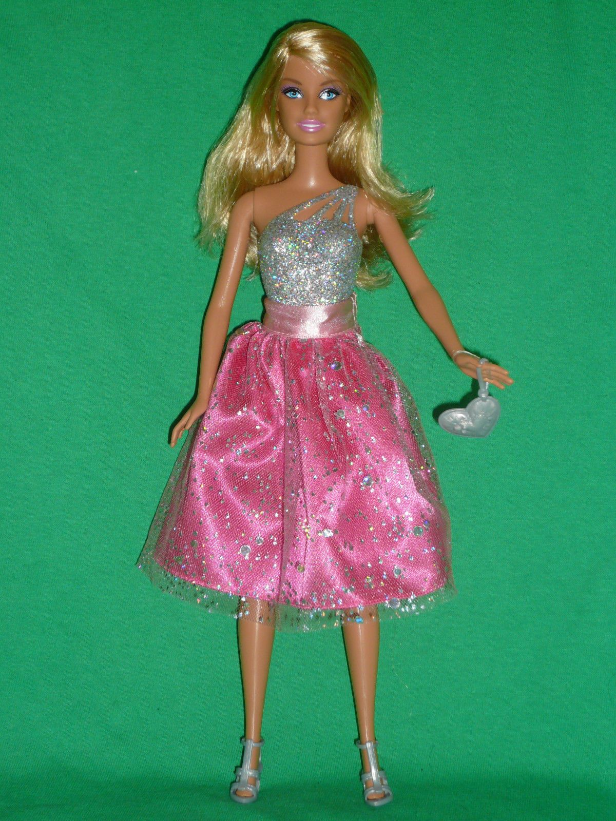 Year name barbie doll painted on silver glitter swim suit swimsuit bathing suit bodysuit 2009 body style and 1998 head style made in indonesia mattel