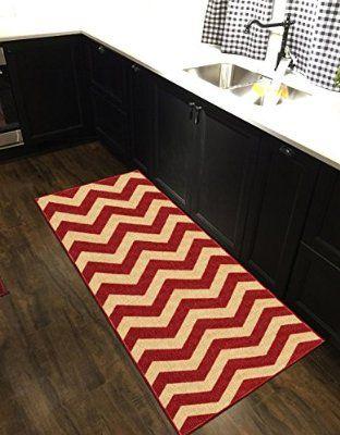 Custom Size Red Chevron Zig Zag Rubber Backed Non-Slip Hallway Stair Runner Rug Carpet 31 inch Wide Choose Your Length 31in X 24ft