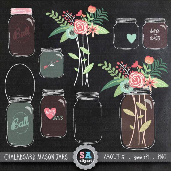 Chalkboard Mason Jar Clipart Wedding Clip Art Pack Vintage Flowers Hand Draw