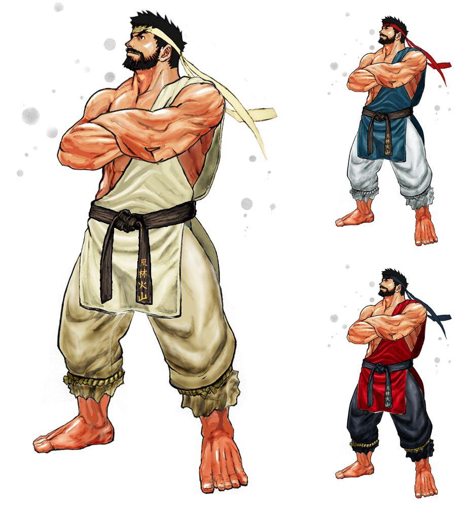 Street Fighter Beard Ryu Character Design Concept Ryu