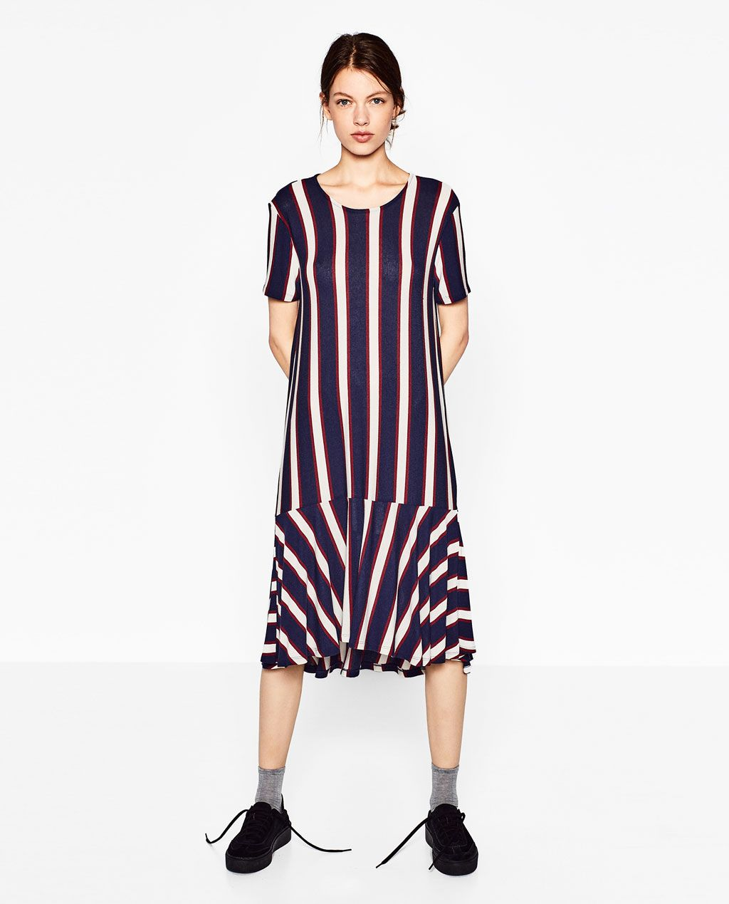328cf2bb1e01 Image 1 of STRIPED DRESS WITH FRILL from Zara