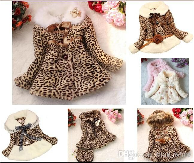 93949fcb6 Wholesale Girl Coat - Buy Retail Girls Leopard Faux Fox Fur Collar ...