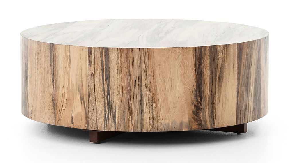 Natural Yukas Round Wood Coffee Table