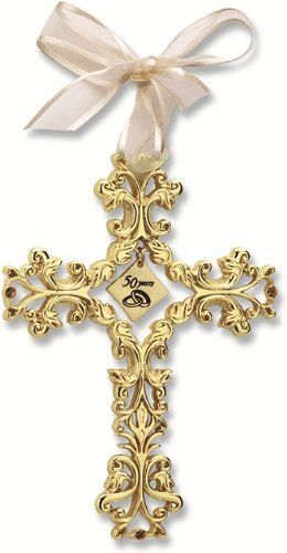 Traditional 50th Wedding Anniversary Gifts.50th Anniversary Cross Ornament Beautiful Traditional 50th