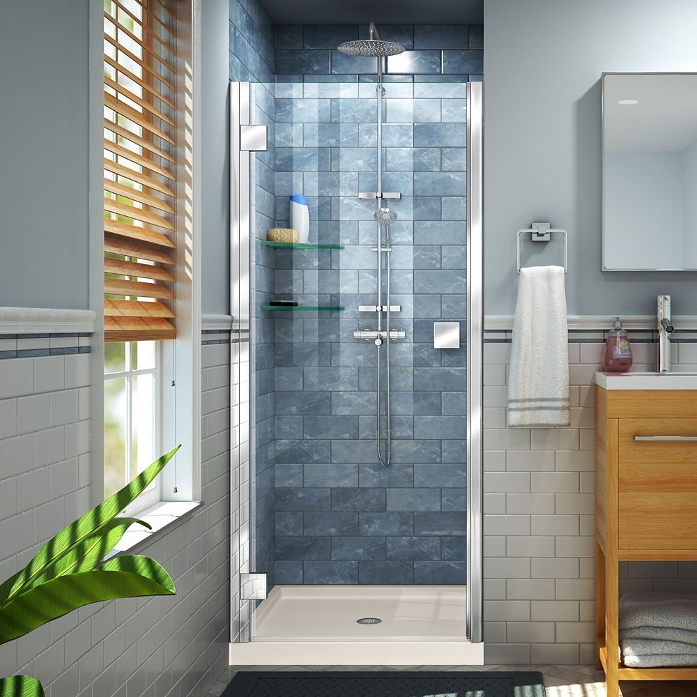 Lumen 32 Inch D X 42 Inch W By 74 3 4 Inch Shower Door In Chrome With Biscuit Acrylic Bas Semi Frameless Shower Doors Shower Doors