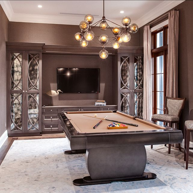 Home Billiards Hall With Modern Chandelier Billiard Room Pool