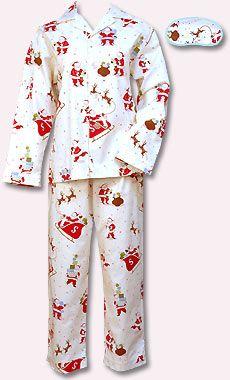 Santa Flannel Santa And Christmas Print Flannel Pajamas For Women The Cats Pajamas