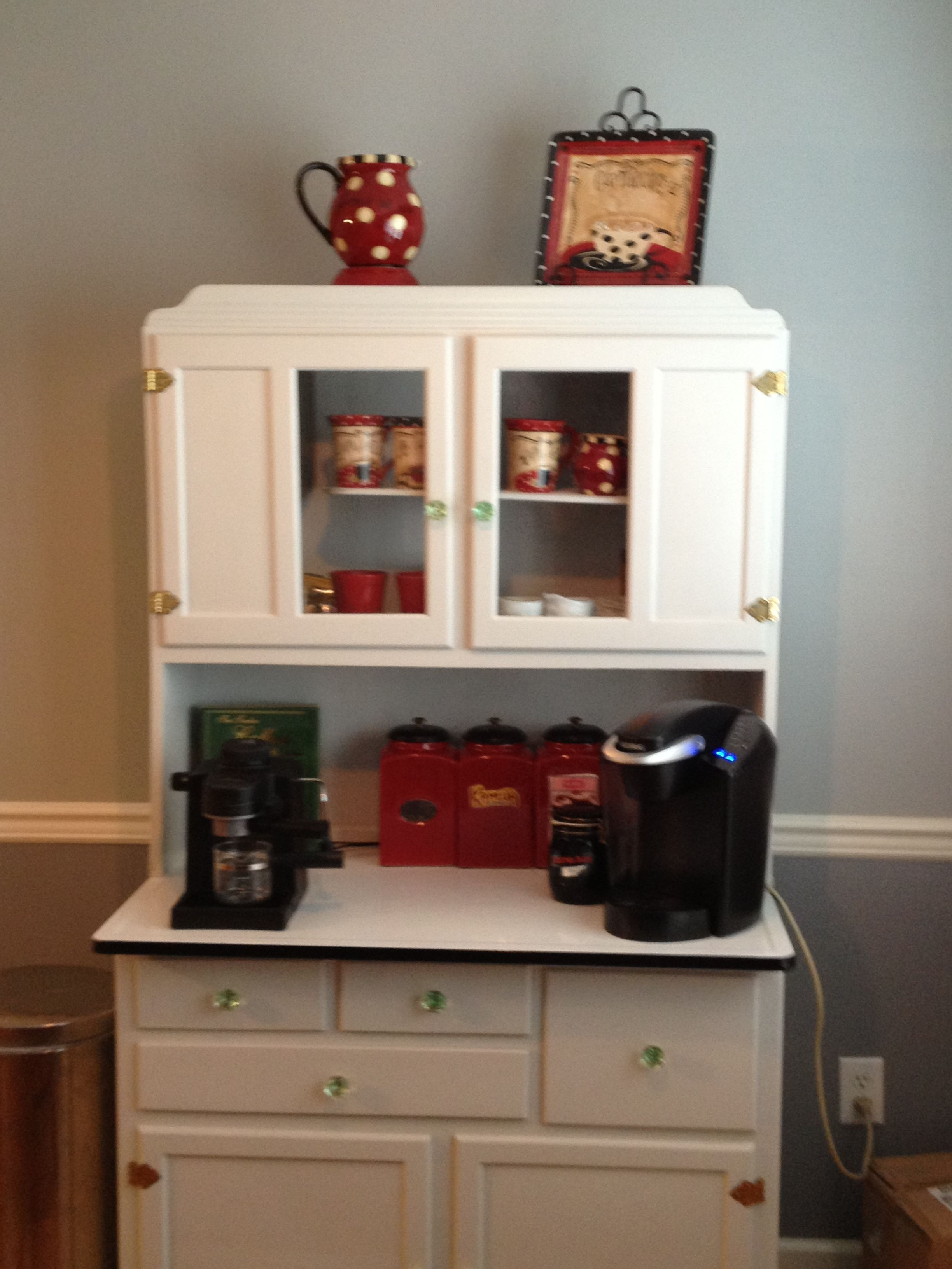 coffee bar in a hoosier cupboard | Cabinets | Pinterest