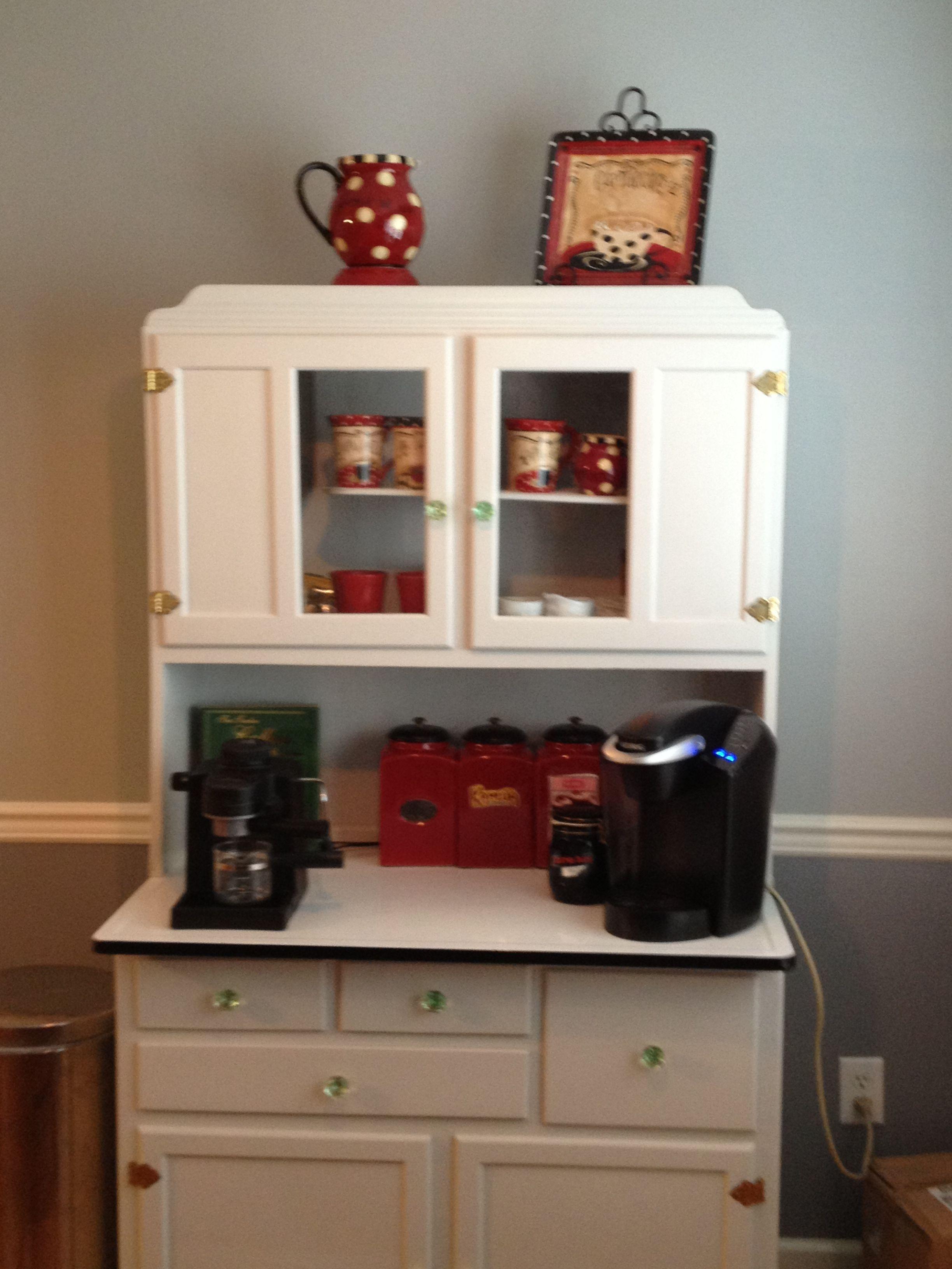 coffee bar in a hoosier cupboard  Hoosier cupboard in