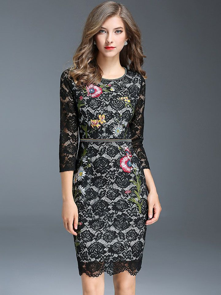 dee60f412812 Vintage O-Neck Long Sleeve Lace Embroidery Skinny Dress; Size:  M,L,XL,2XL,3XL; Color: Black; Material: Polyester; Style: Vintage;  Silhouette: Sheath Dresses ...