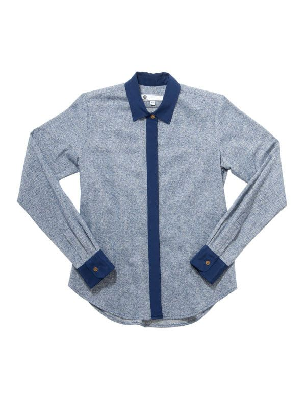 Undercover Button Down / Navy Marl with Navy Silk