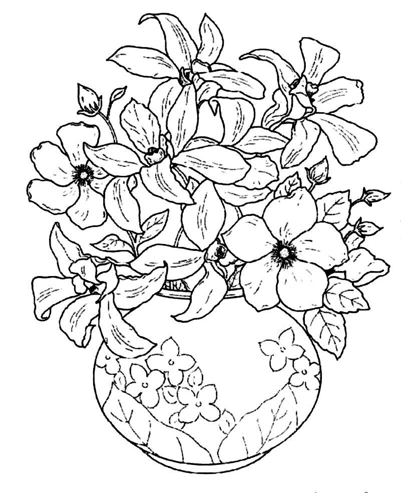 Realistic Bouquet of flowers in vase coloring page for kids, flower ...
