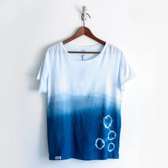 a4b8ece43a Natural Indigo Shibori Dip Dyed Tee   Indigo tie dye relaxed tshirt with rolled  sleeves   Ombre Shirt   Womens boho top