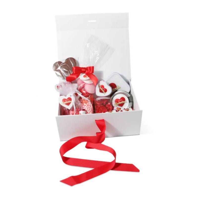 Branded valentine midi gift box with valentines sweets