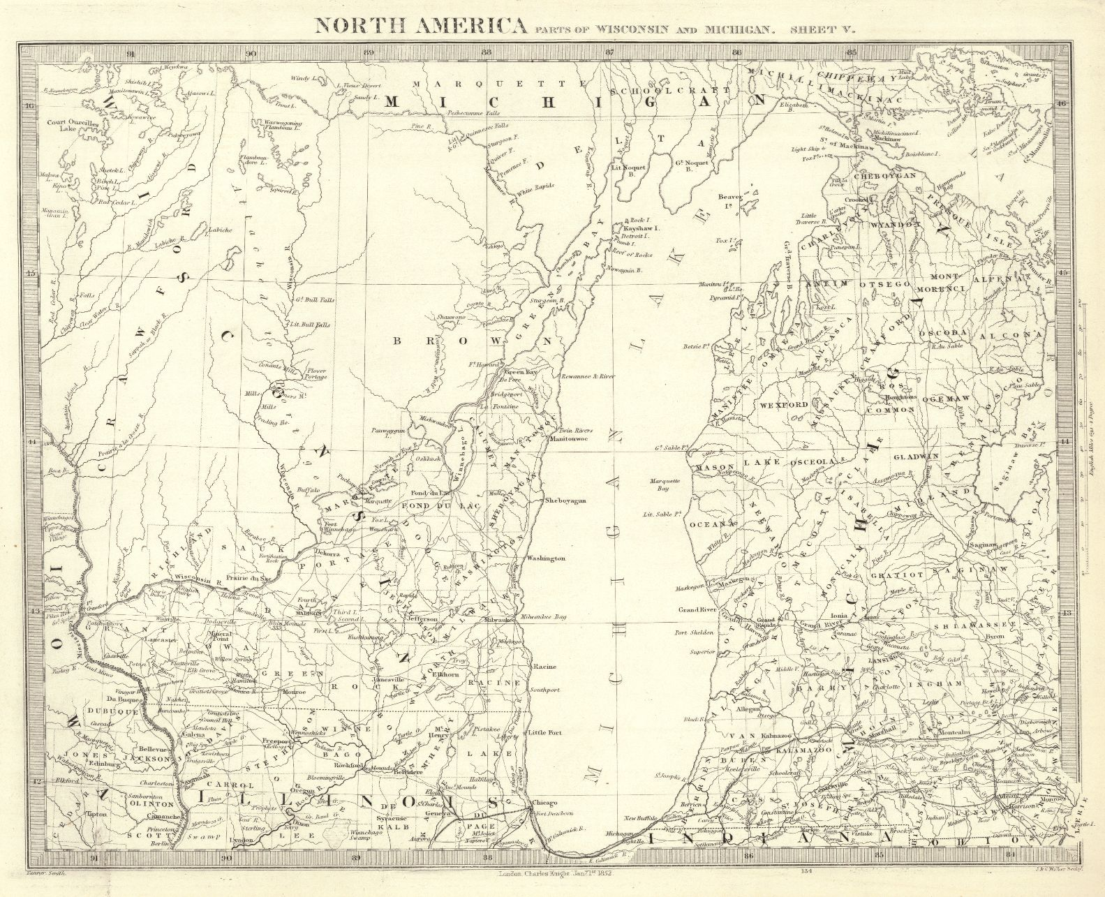 Map Antique North America Parts Of Wisconsin And Michigan Sheet V - Map of america wisconsin