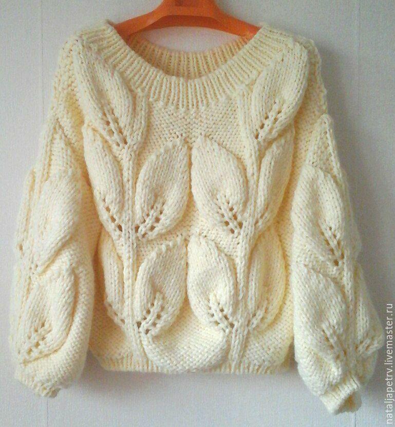 Купить свитер листья - белый, однотонный, свитер вязаный ...