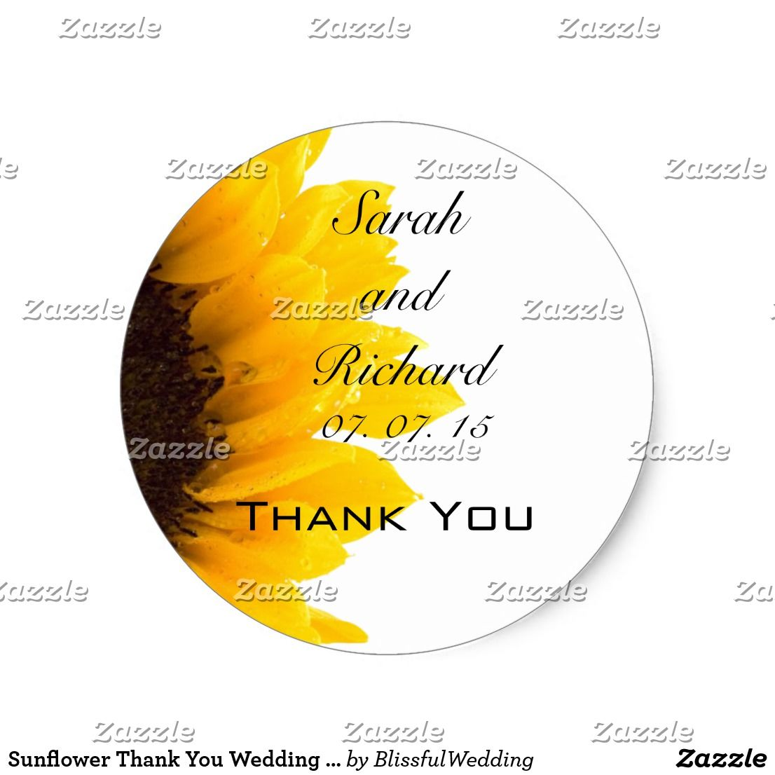 Sunflower Thank You Wedding Favor Stickers | Wedding: Favor Sticker ...