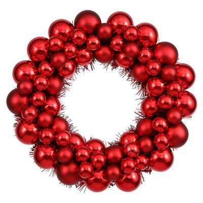 Hashtag Home Coloured Ball Wreath with Tinsel Wreath Colour: Red, Size: 12""