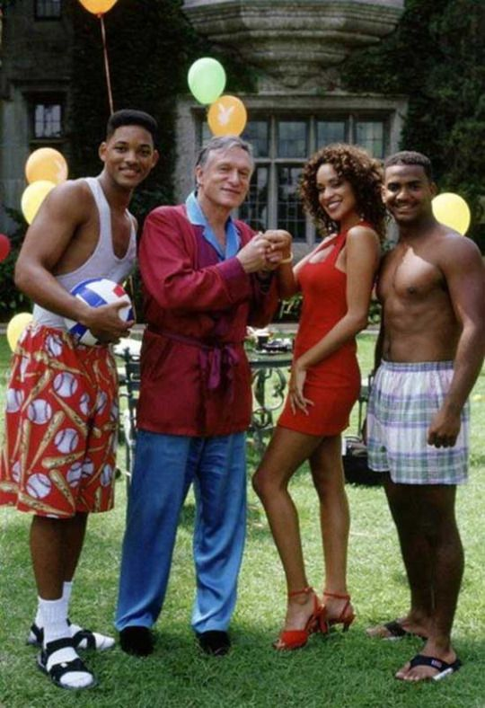 Will Smith, Hugh Hefner, Karyn Parsons and Alfonso Ribeiro at the Playboy Mansion. The Fresh Prince of Bel Air