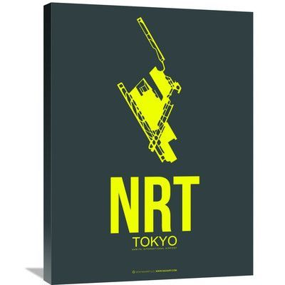 """Naxart 'NRT Tokyo Poster 2' Graphic Art on Wrapped Canvas Size: 32"""" H x 24"""" W x 1.5"""" D"""