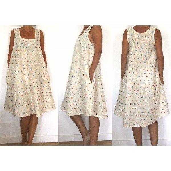 Patron de couture robe col carr et poches dans la for Apprendre a couture gratuit