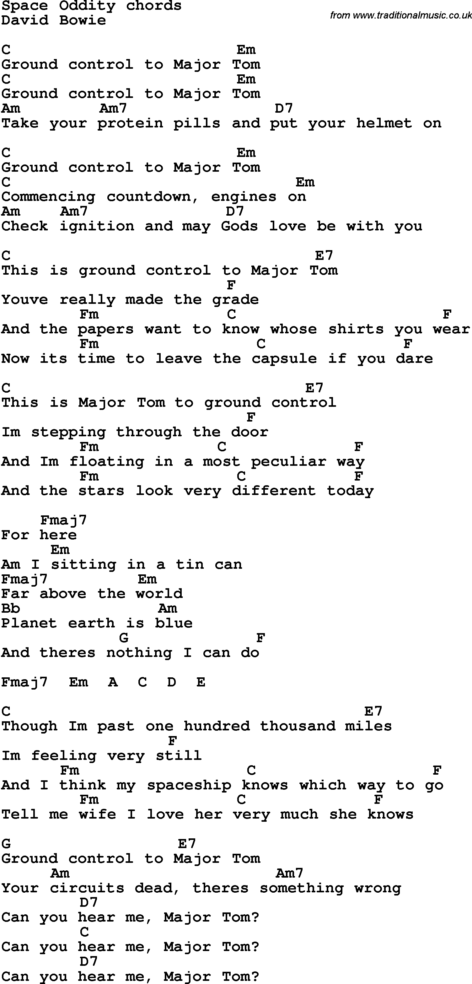 Lyrics With Guitar Chords For Space Oddity Chords For