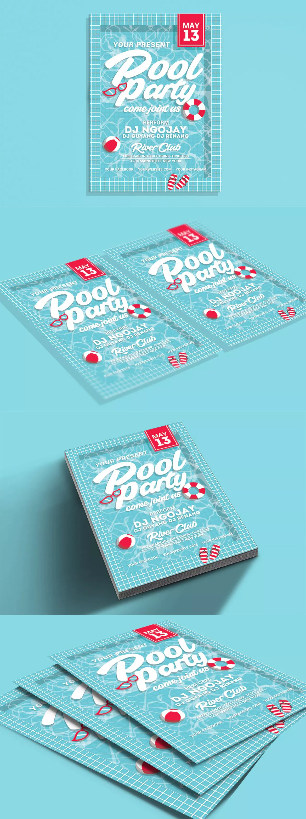 Pool Party Flyer Template Psd  Diseo    Party Flyer