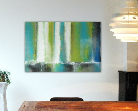 Large Abstract Schilderij  Green Digital Forrest  door RonaldHunter, $299.00