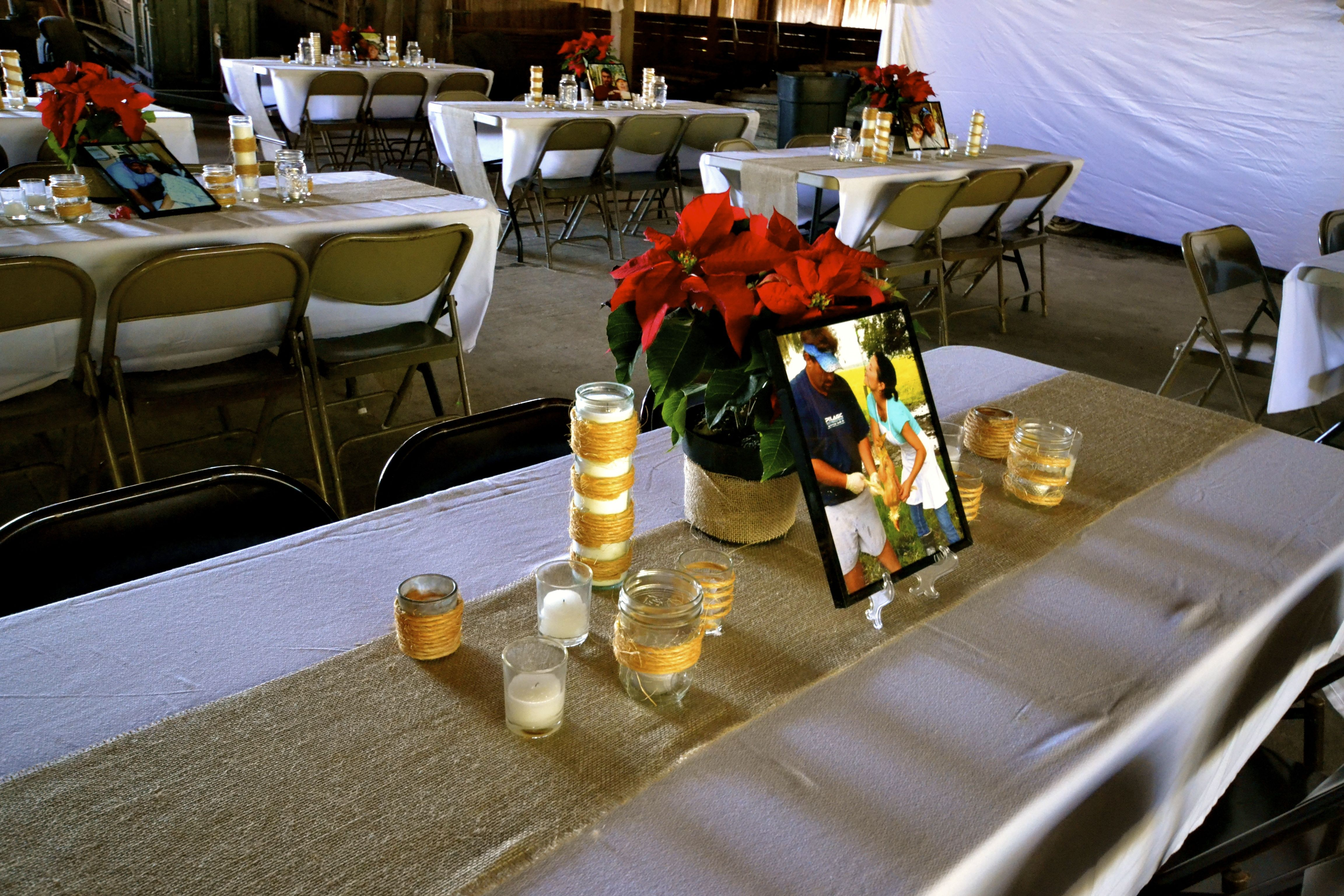 I Used Plain White Table Clothes U0026 Burlap Runners. (I Ordered A 12 In X 100  Yd Roll Of Burlap U0026 Used It For Everything From The Table Runners To Bows  That ...