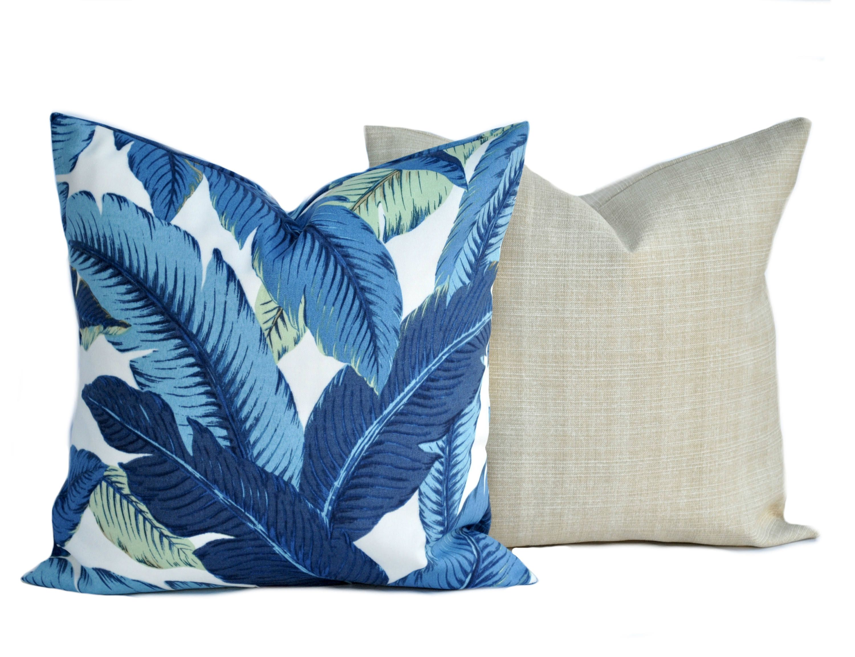 8 Tommy Bahama pillow covers 8 blue palm and 8 tan cushion  Etsy