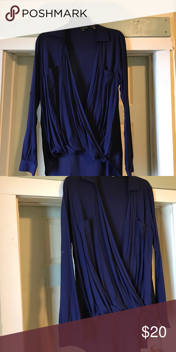 Shine star navy blue shirt This drape shirt is prefect with a cami or nice Lacey undershirt says size m but fit more like a small brand new never wear . 💯 rayon lower in the back and gather in the front shine star Tops Blouses