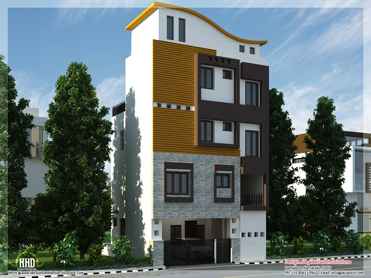 3 floor house design derby pinterest house design for Kerala building elevation