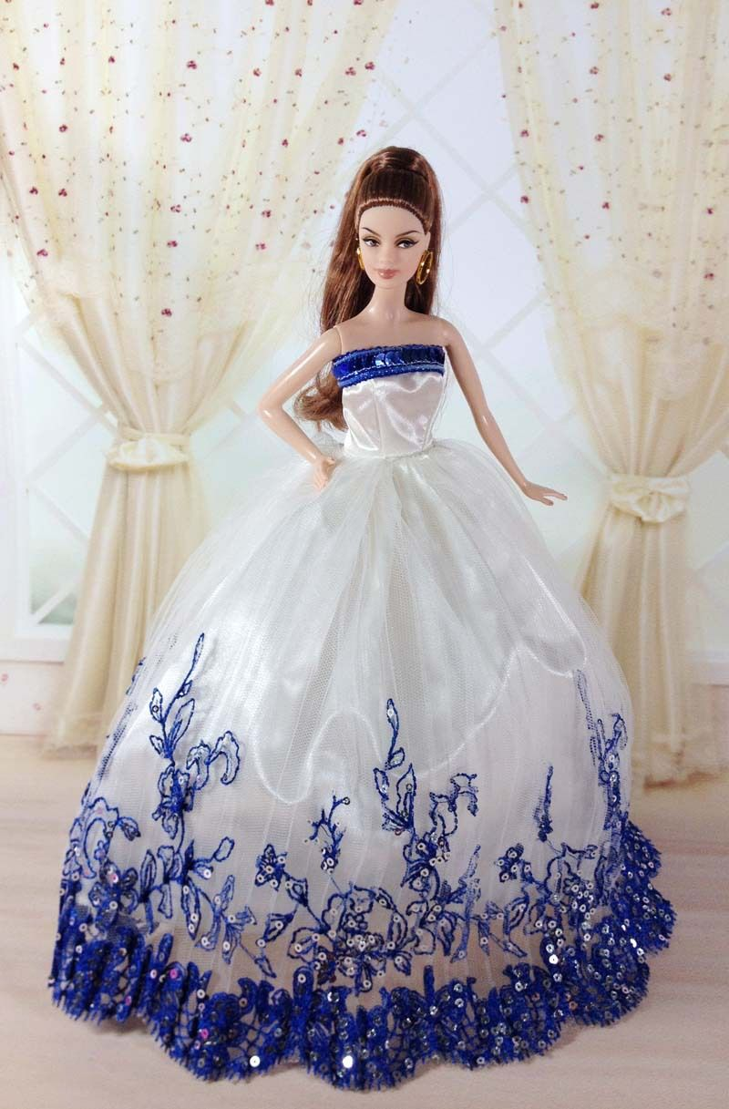 Free shipping evening dress party wedding outfit gown for Wedding dresses for barbie dolls