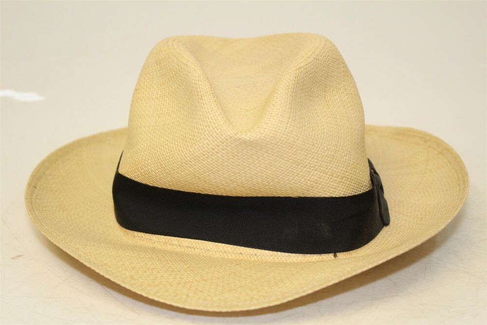 20260ca607f2 Stetson Mens 7 3/8 Centerdent Natural Woven Straw Panama Fedora Hat mb  #fashion