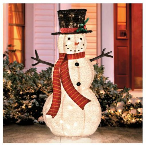 Outdoor Christmas Snowman Decoration Cute Lawn Yard Ornament Figurine Glowing Lights