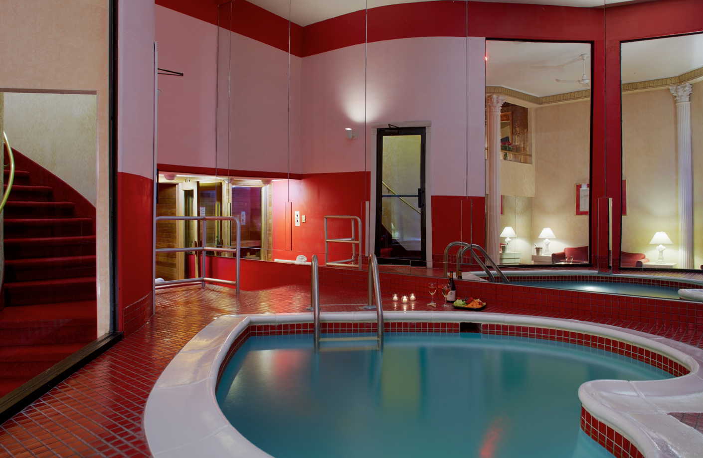 Relax In Poconoromance Roman Tower Suite Featuring In Suite Heart Shaped Pool Poconomtns Palace Resorts Cool Pools Poconos