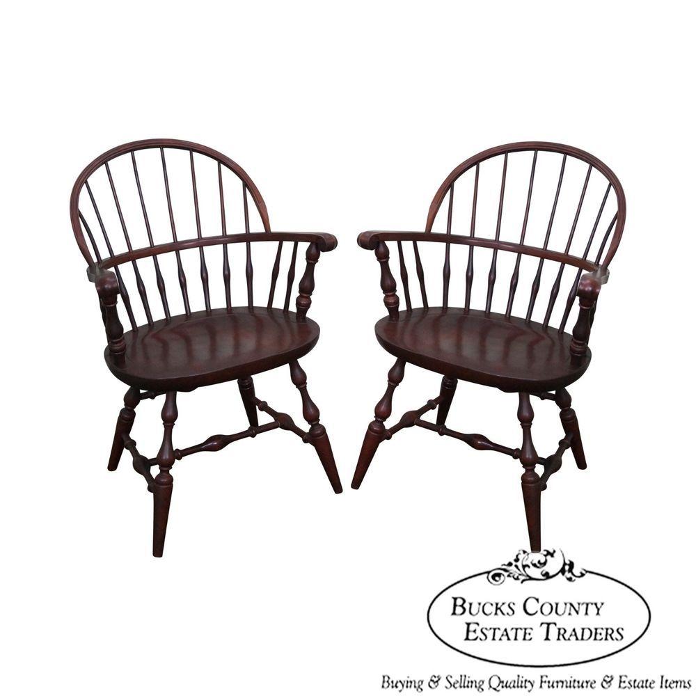 Nichols U0026 Stone Cherry Finish Pair Of Windsor Arm Chairs #Traditional