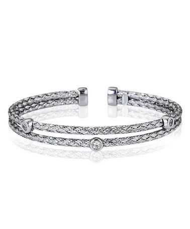 Loving this Sterling Silver & Cubic Zirconia Two-Strand Cuff on #zulily! #zulilyfinds