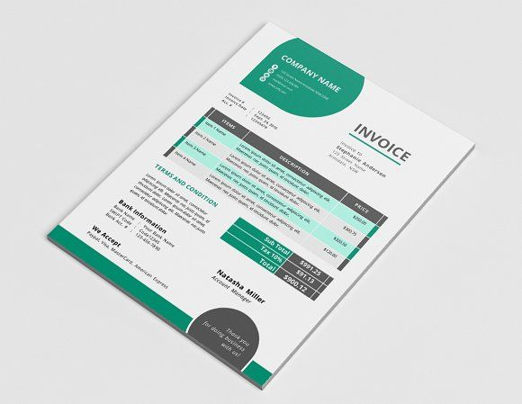 Unique corporate Word invoice by Inkpower on @creativemarket - corporate word templates