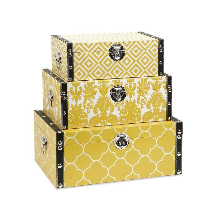 Sunny Yellow Keepsake Boxes   Set Of 3 | Dotandbo.com