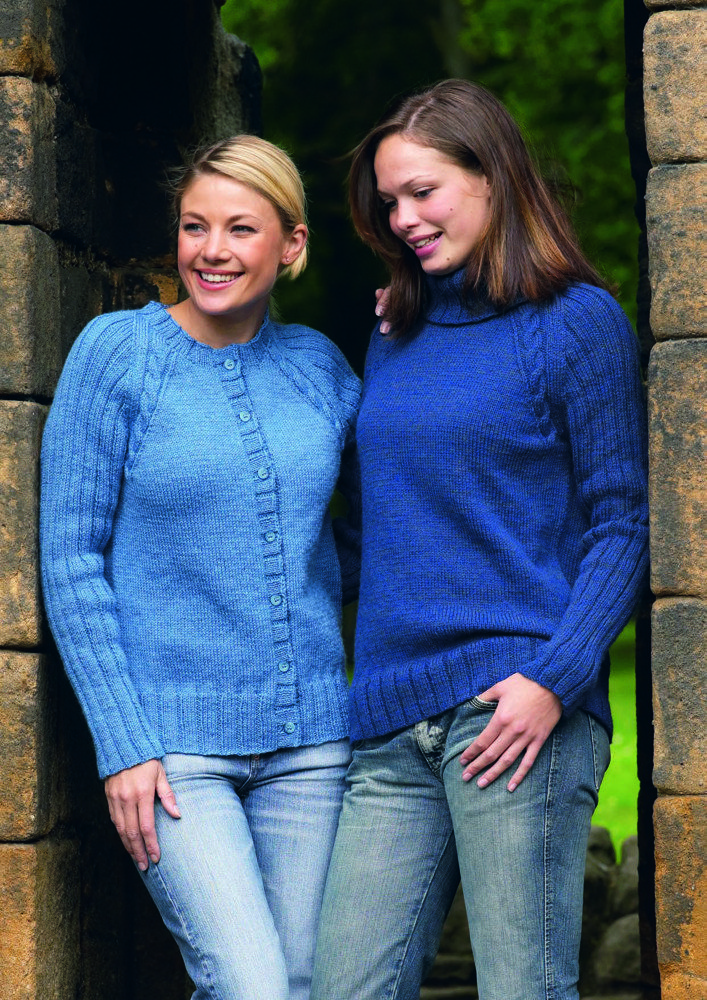 Cable Trimmed Raglan Sweater And Cardigan In Wendy Merino Dk Free