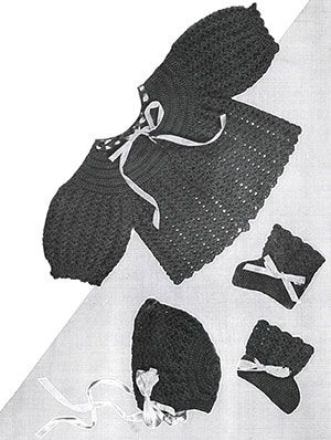 Crochet Baby Set #724 pattern originally published in Baby Fashions New, Doreen Knitting Vol 107.